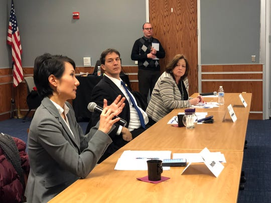 The Pennsylvania House Democratic Policy Committee engages in a Q&A with panelists about technical education and workforce development at the York City School District administration building on Thursday, Jan. 31.  L to R: Democratic representatives Patty Kim (Dauphin County) Joe Hohenstein (Philadelphia County) and Jeanne McNeill (Lehigh County)