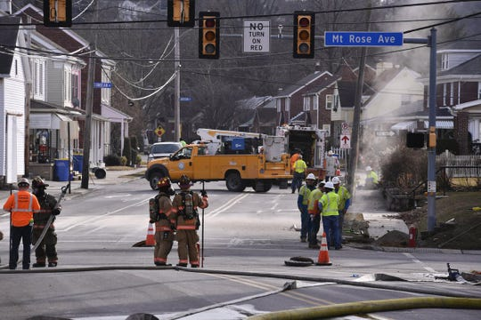 Mount Rose Avenue was closed at Ogontz Street Tuesday, Feb. 5, 2019, for a gas leak. John A. Pavoncello photo