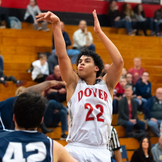 Elijah Sutton (22) takes the shot during the boys' basketball game between Dover and West York, February 1, 2019. The Eagles defeated the Bulldogs 65 to 58.