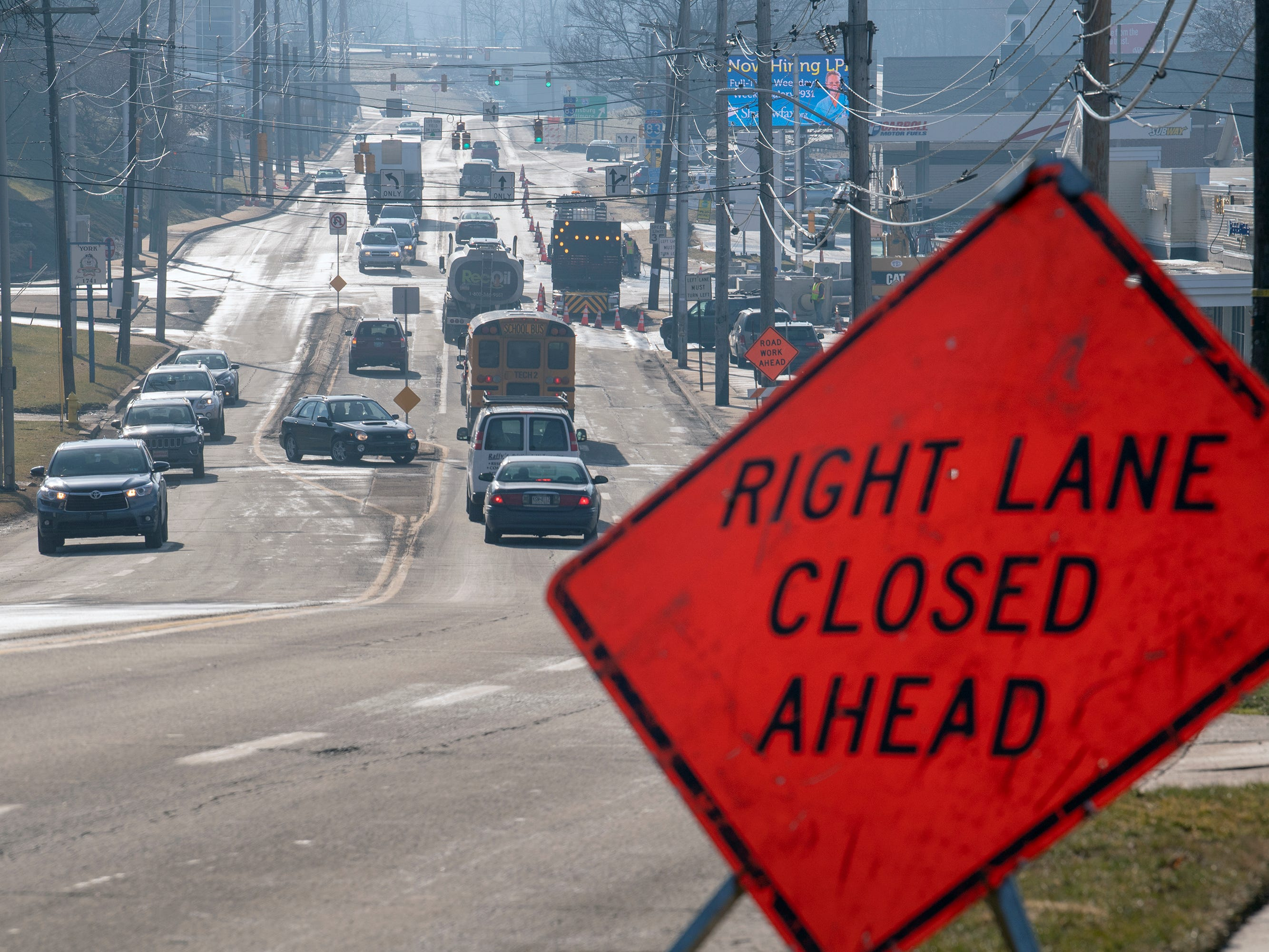 Looking south on South George Street through the intersection of Rathton Road, South George Street and Country Club Roads Tuesday February 5, 2019 where the right lane was closed due to construction.