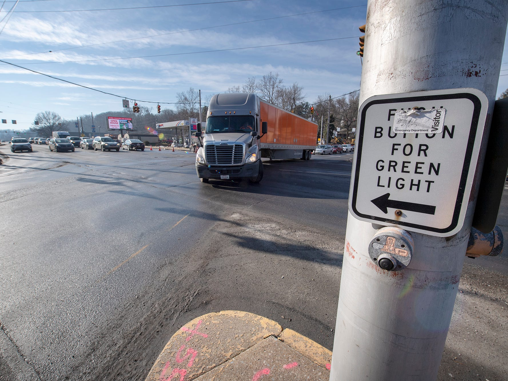 A truck makes a left turn on to North George Street through the intersection of Rathton Road, South George Street and Country Club Roads Tuesday February 5, 2019.