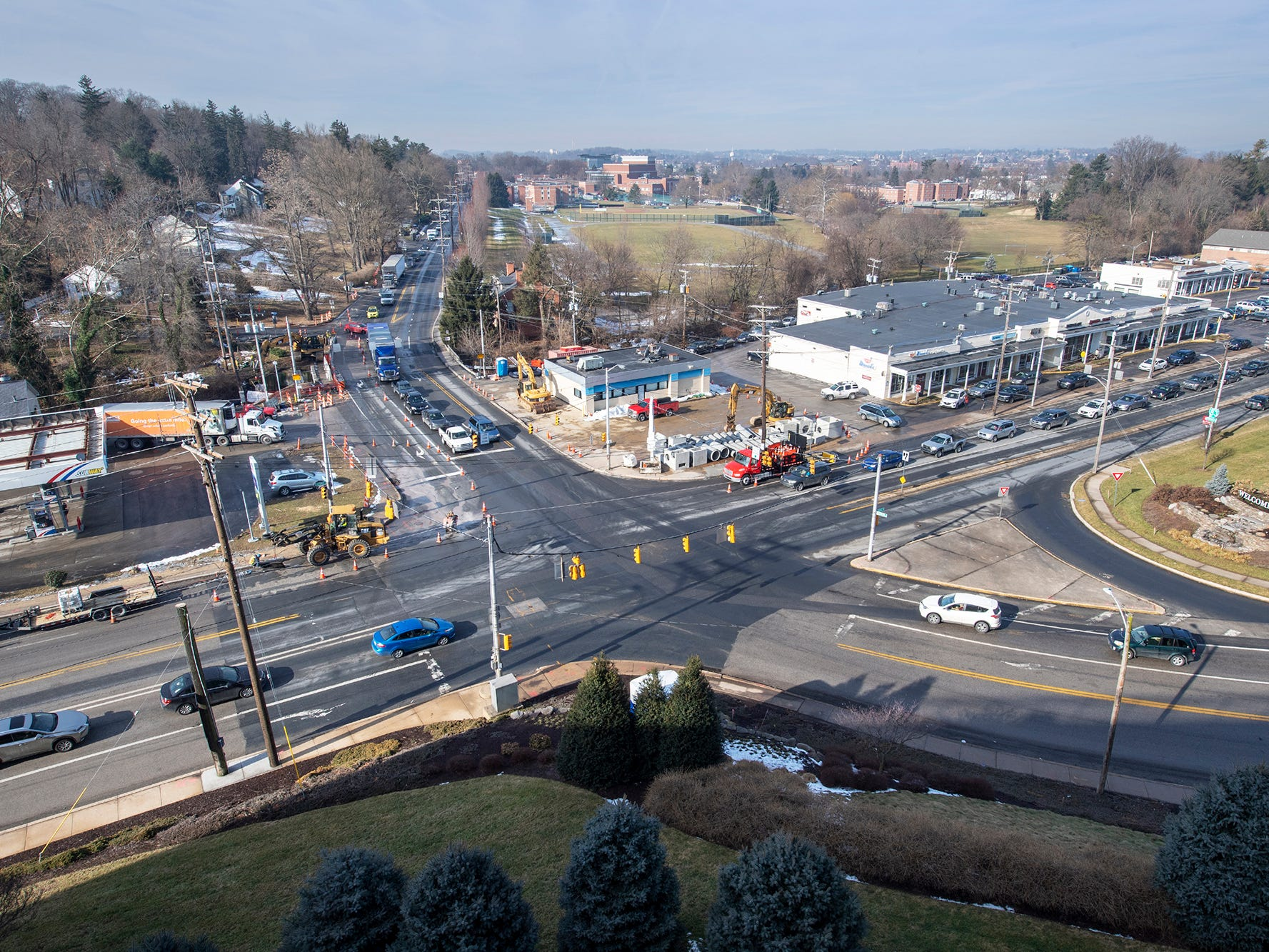 This view from the York Hospital grounds is looking west through the intersection of Rathton Road, South George Street and Country Club Road. Construction should ease the backups drivers have experienced, along with improving the pavement.