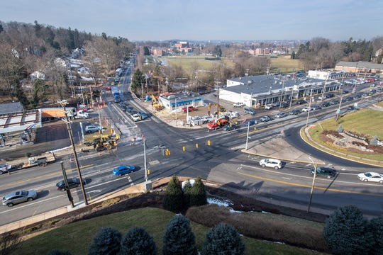 Traffic backs up as crews make improvements to the intersection of South George Street, Rathton Road and Country Club Road intersection by York Hospital. The work includes widening the intersection and adding more lanes.