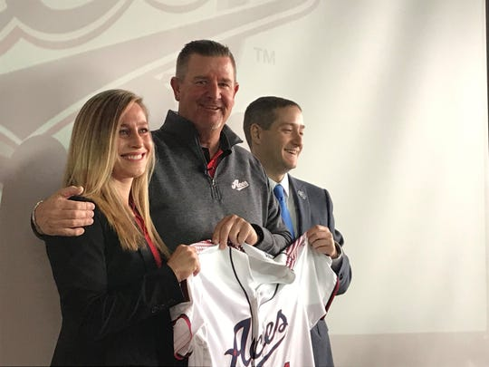 Reno Aces general manager Emily Jaenson, manager Chris Cron and president Eric Edelstein at Tuesday's news conference.