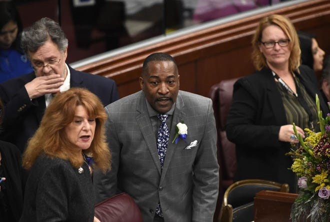 Tyrone Thompson pictured Monday, Feb. 4, 2019 on the first day of the 80th session of the Nevada Legislature.