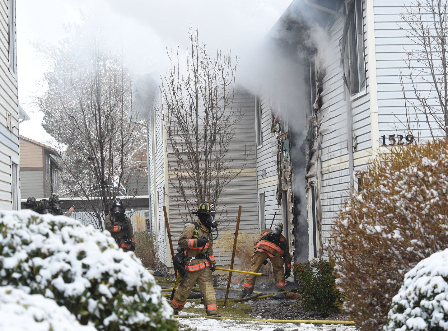 The Reno Fire Dept. works to put out a fire at the Meadow Wood Apartments in Reno on Feb. 5, 2019.