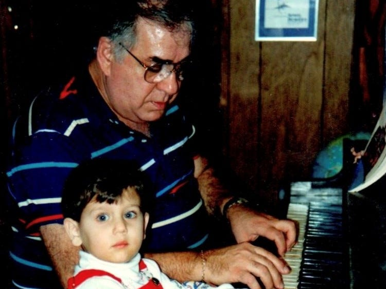 Teddy and her 'Da', Grandpa Sam Rizzo, at the piano in 1991. The pair have always enjoyed writing and arranging music together.