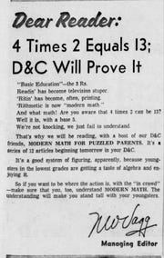 """Democrat and Chronicle managing editor Norman W. """"Red"""" Vagg wrote this note to readers about the 10-part Modern Math series."""