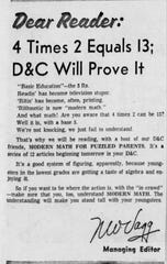 """Democrat and Chronicle managing editor Norris W. """"Red"""" Vagg wrote this note to readers about the 10-part Modern Math series."""