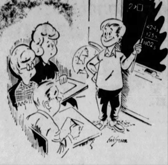 """This """"Modern Math"""" cartoon ran in the Democrat and Chronicle on Feb. 7, 1966, with the first installment of the math series. It shows someone trying to explain the concepts to perplexed parents."""
