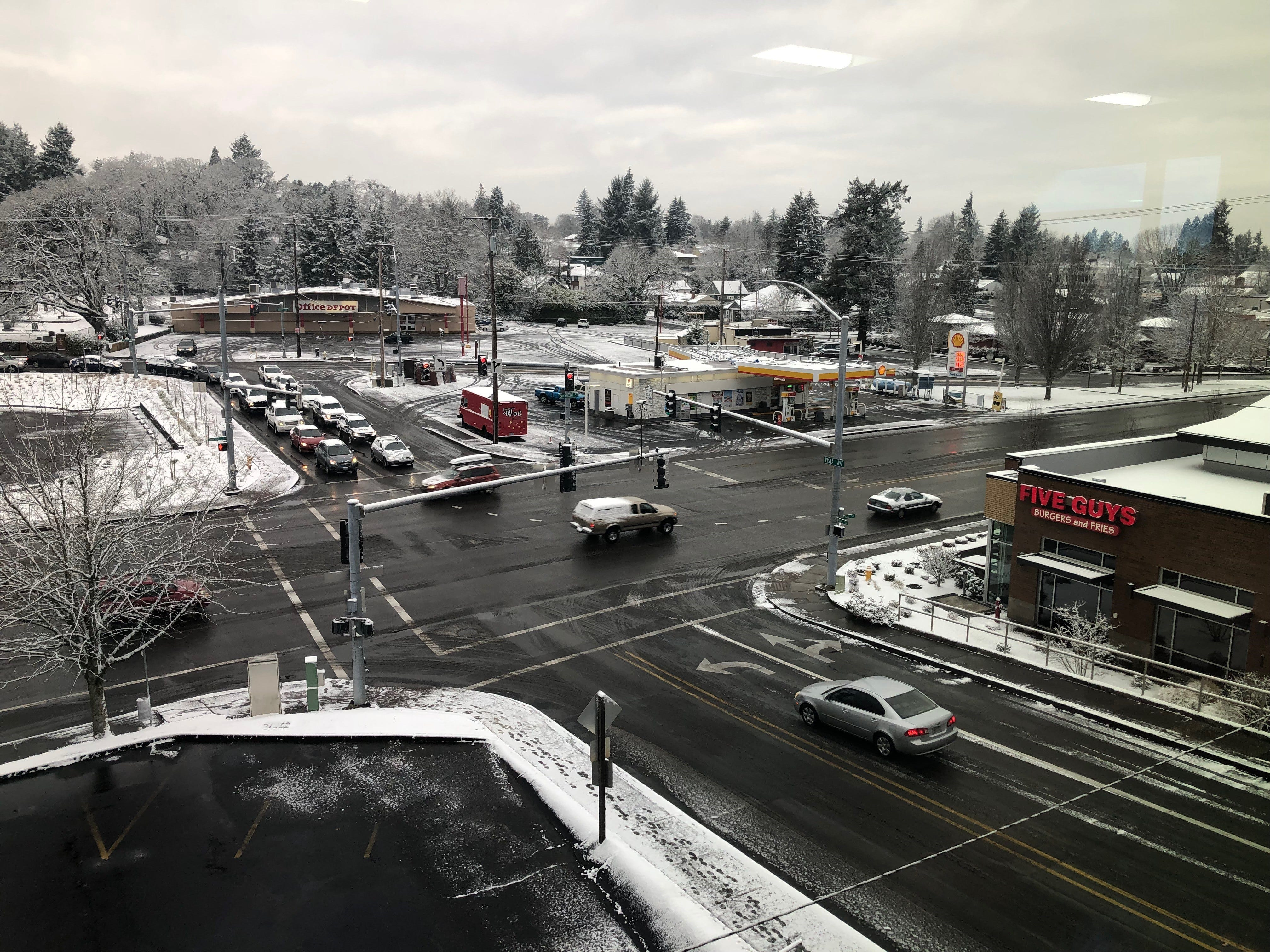 A view down on the Commercial Street and Vista Avenue intersection Tuesday morning.