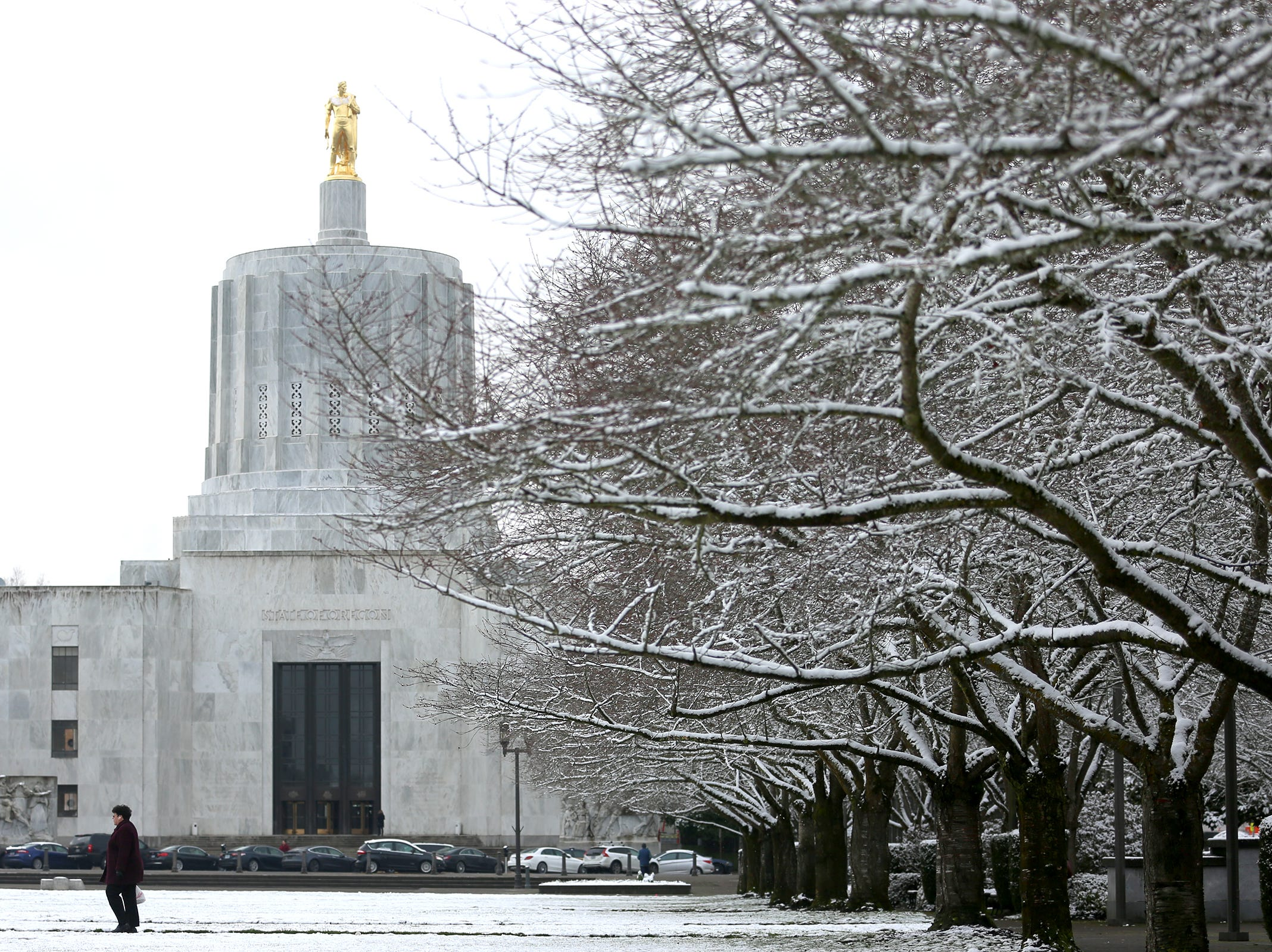 The Oregon State Capitol is pictured after snowfall in Salem on Tuesday, Feb. 5, 2019.