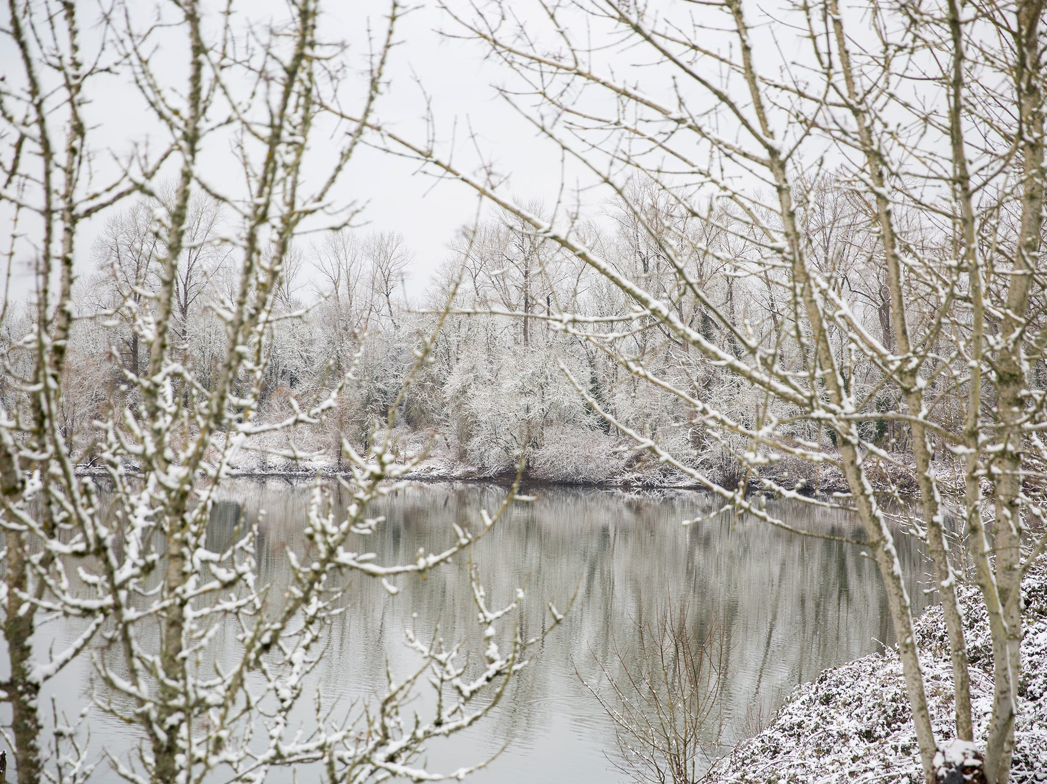 Riverfront Park is pictured in the snow in Salem on Tuesday, Feb. 5, 2019.