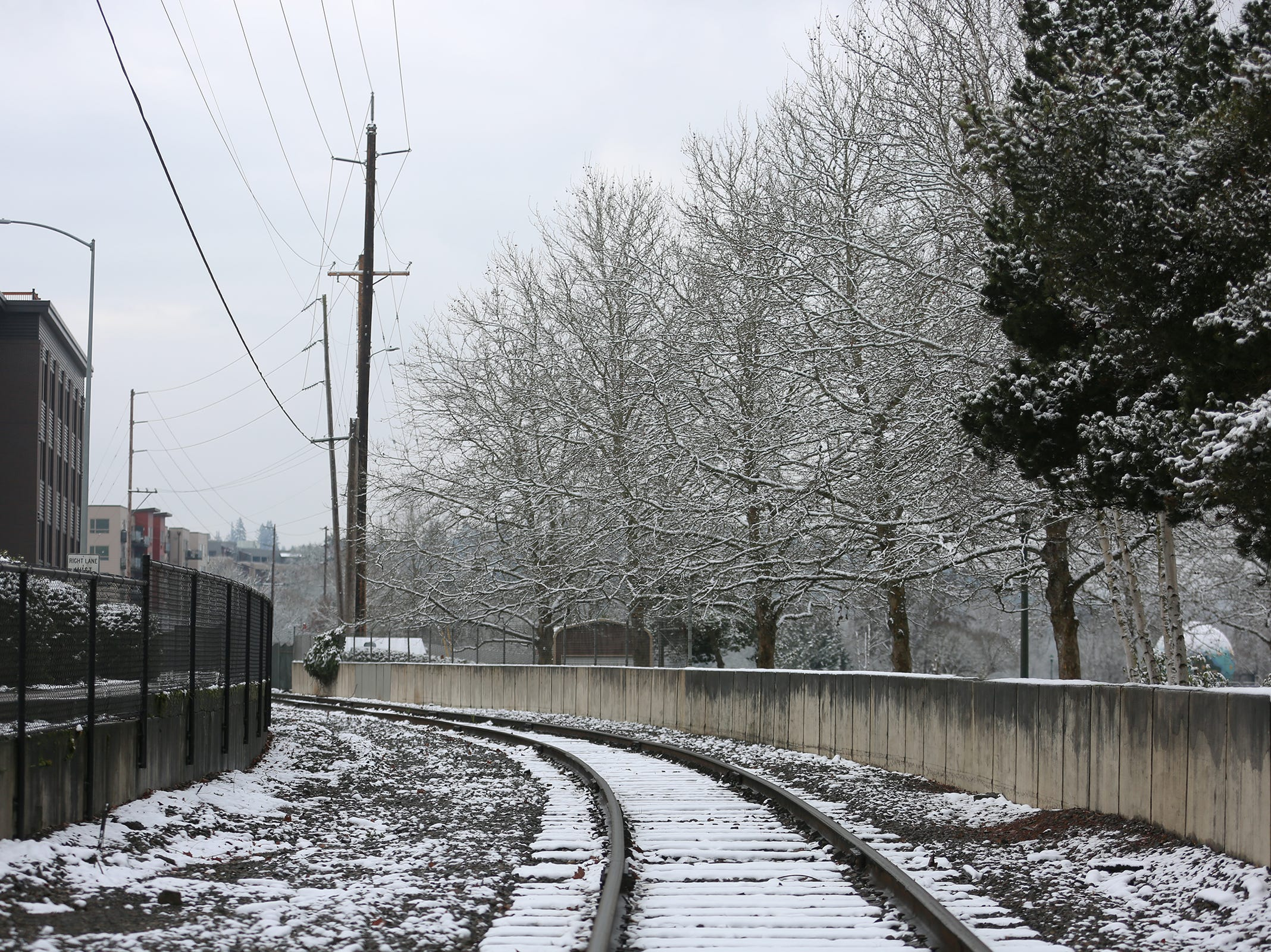 Train tracks in front of Riverfront Park are pictured in the snow in Salem on Tuesday, Feb. 5, 2019.