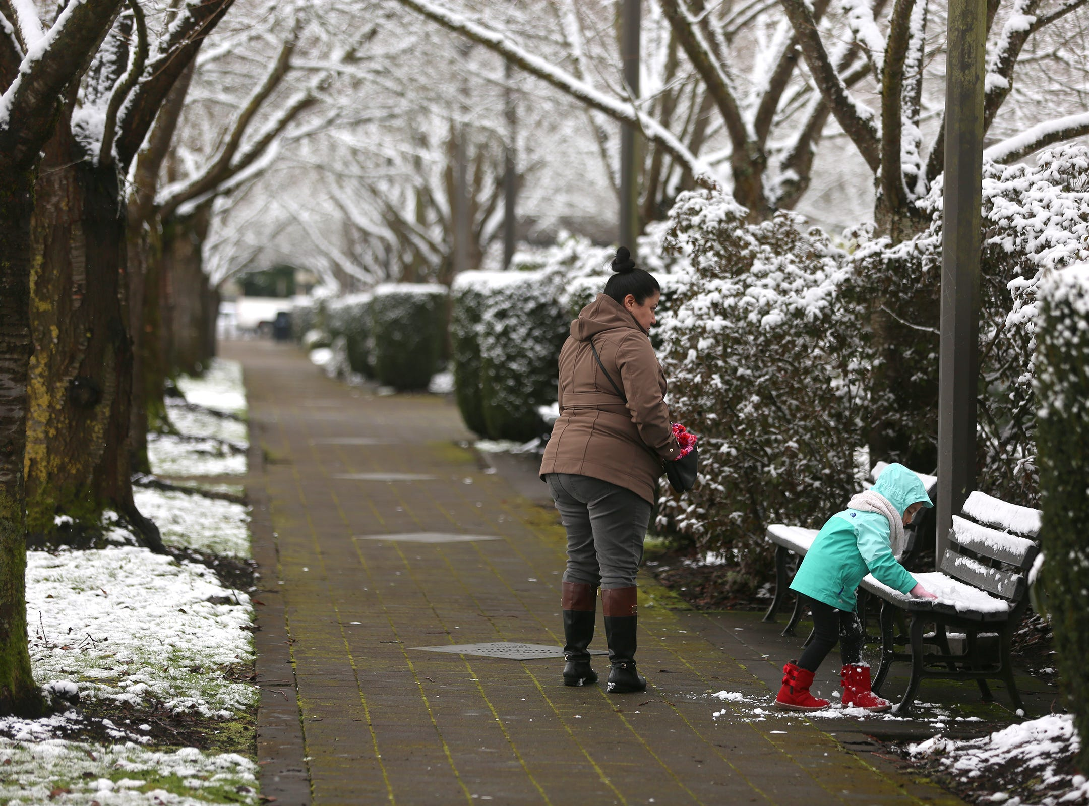 Claudia Rodriguez-Juarez and her daughter Aviela Juarez,3, play in the snow outside the Oregon State Capitol in Salem on Tuesday, Feb. 5, 2019.