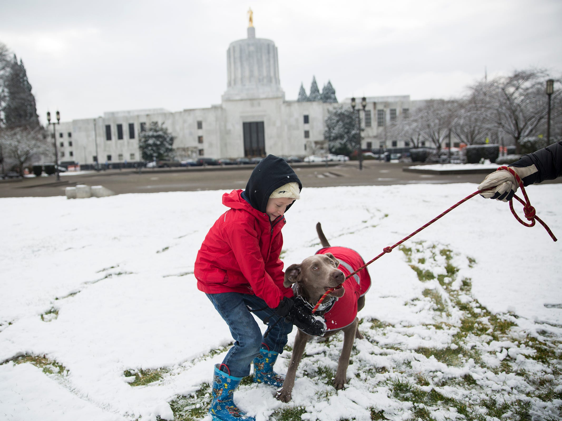 Max Mosquera, 7, plays with his dog Luna in the snow outside the Oregon State Capitol in Salem on Tuesday, Feb. 5, 2019.