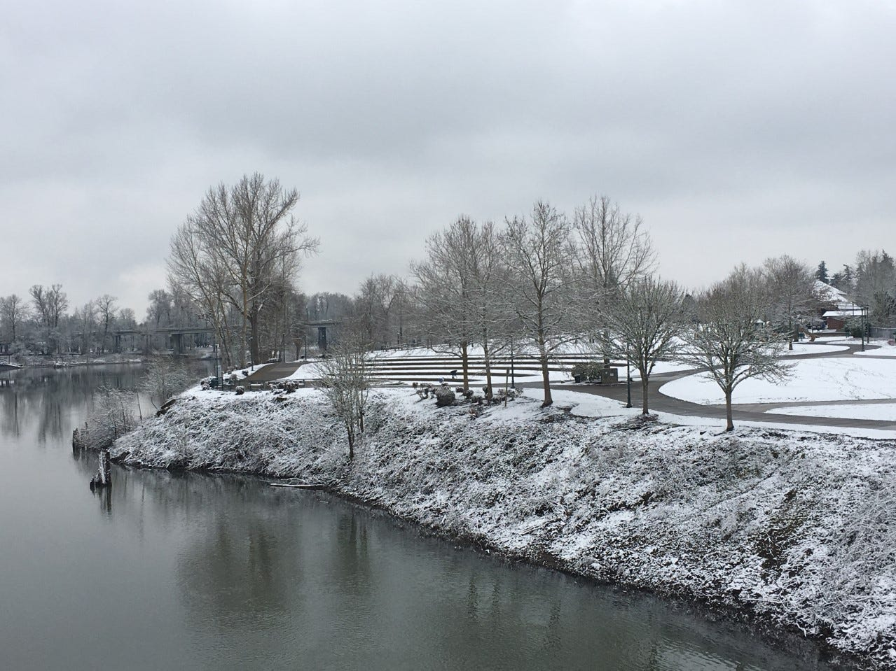 Riverfront Park from the  Peter Courtney pedestrian bridge on Tuesday morning.
