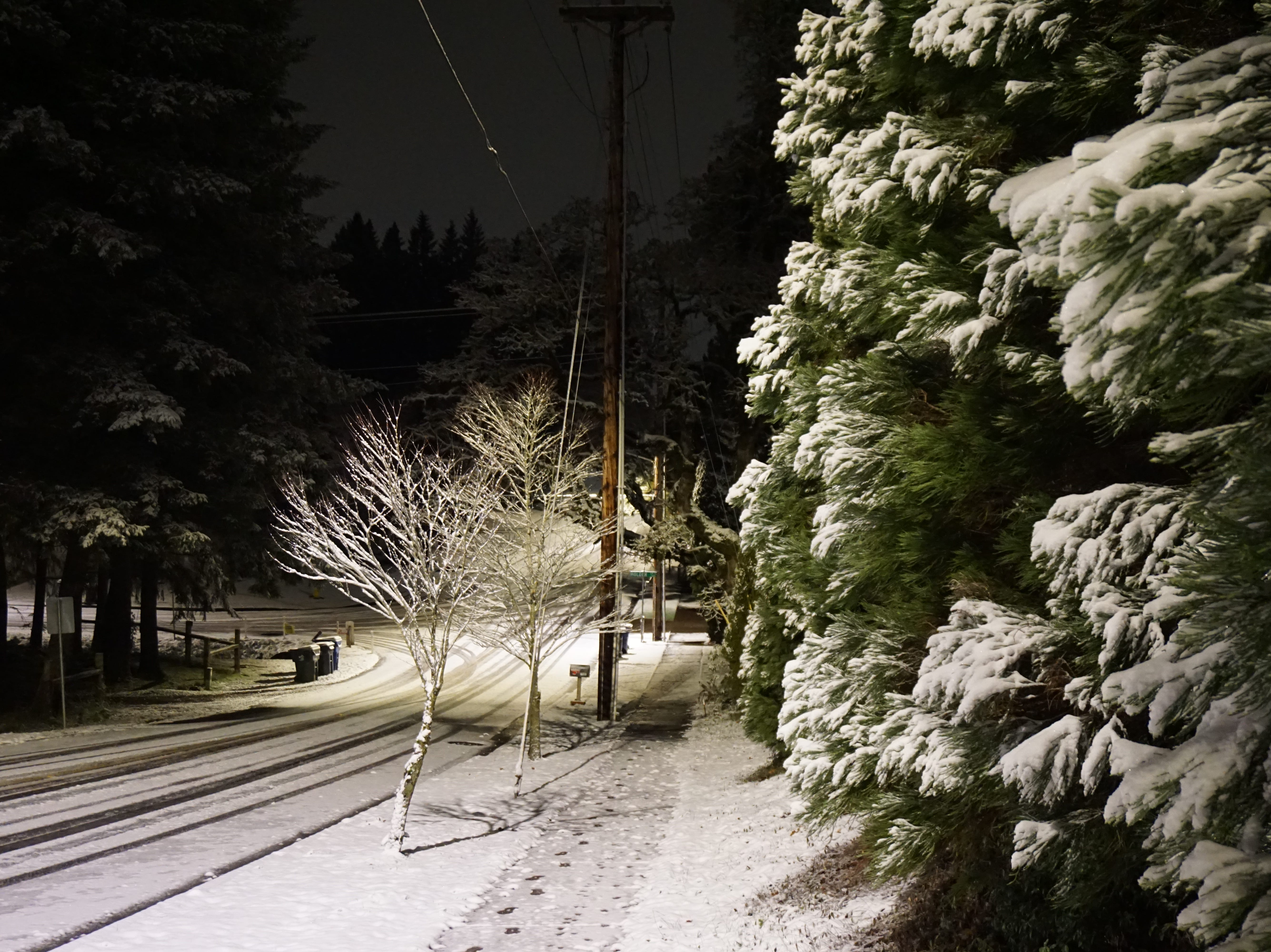 Snow covers a street in South Salem early Tuesday, February 5, 2019.