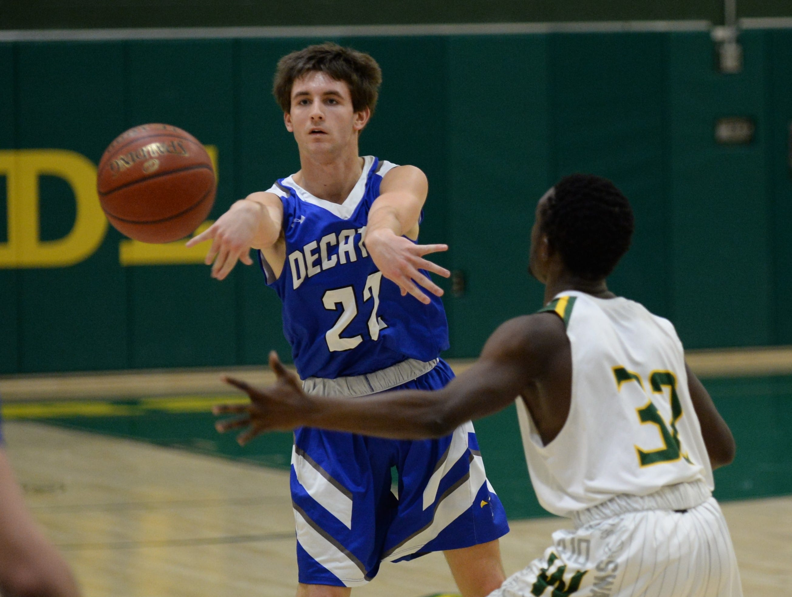 Stephen Decatur's Brett Berquist passes to a teammate against Mardela on Tuesday, Feb. 5, 2019.