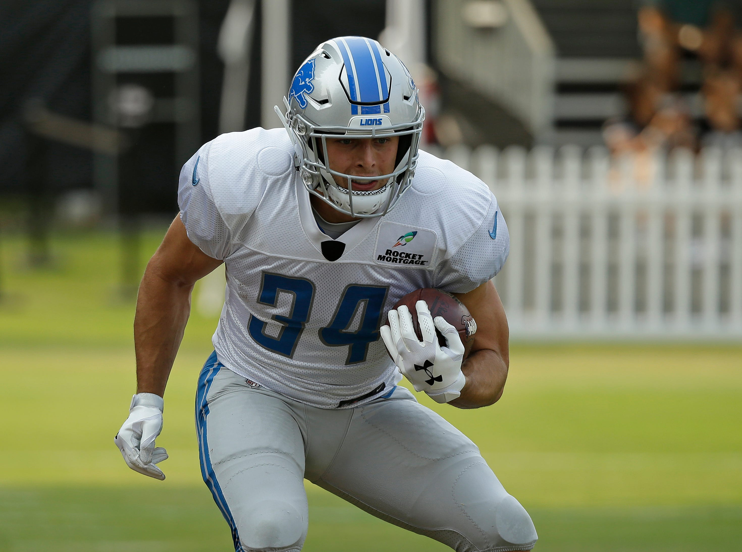 Detroit Lions running back Zach Zenner during NFL football practice Tuesday, Aug. 7, 2018, in Napa, Calif. Both the Oakland Raiders and the Detroit Lions held a joint practice before their upcoming preseason game on Friday. (AP Photo/Eric Risberg)