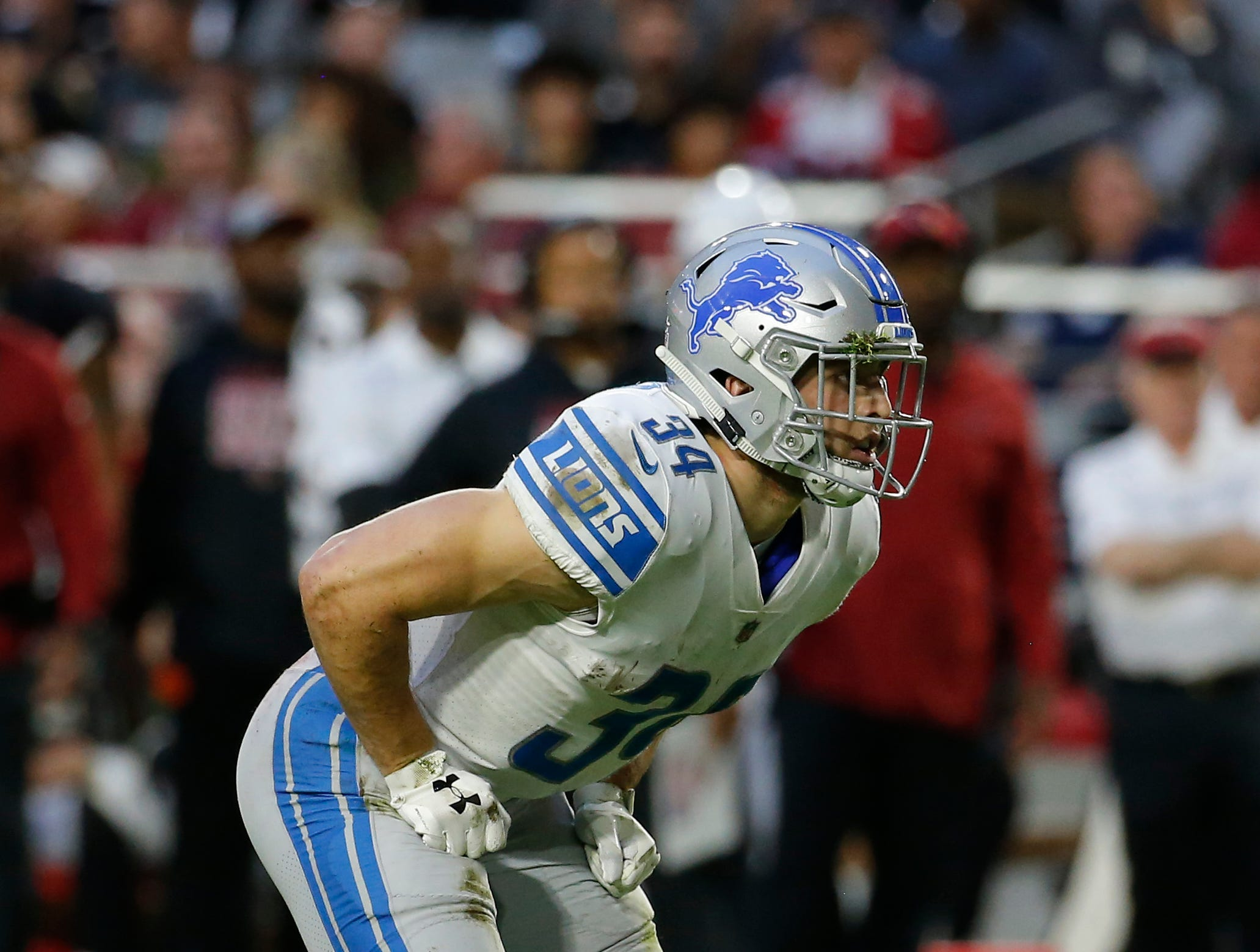 Detroit Lions running back Zach Zenner (34) during an NFL football game against the Arizona Cardinals, Sunday, Dec. 9, 2018, in Glendale, Ariz. The Lions won 17-3. (AP Photo/Rick Scuteri)