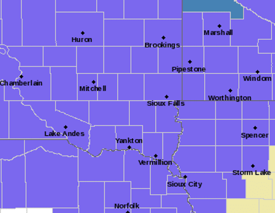The areas in purple are under a winter weather advisory on Wednesday, Feb. 6, 2019 and Thursday, Feb. 7, 2019.
