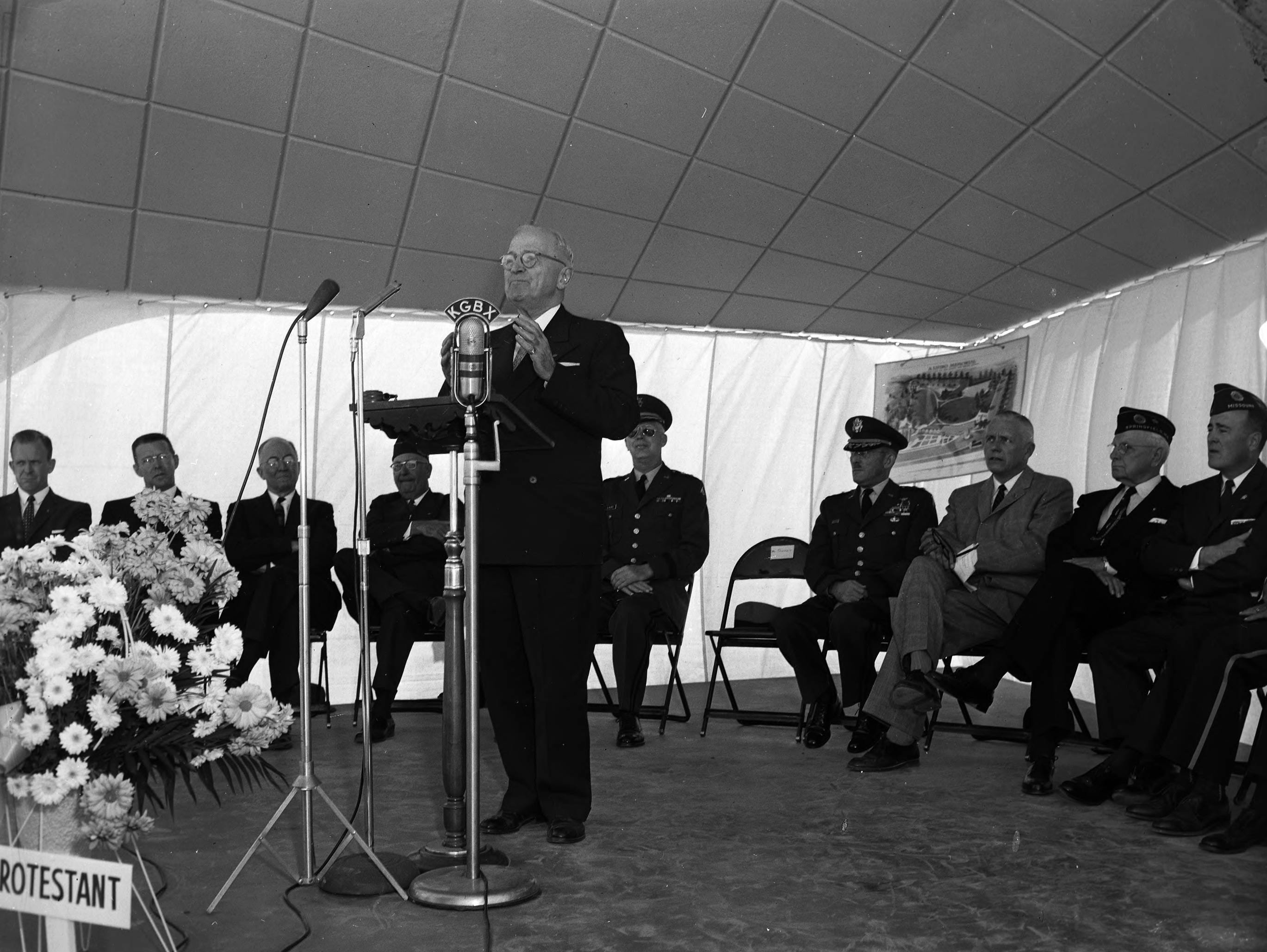 Harry S. Truman spoke during ceremonies dedicating the Living Memorial on Highway 65. The memorial was a long-planned effort of the War Dads. Published in the Leader & Press on November 11, 1958.