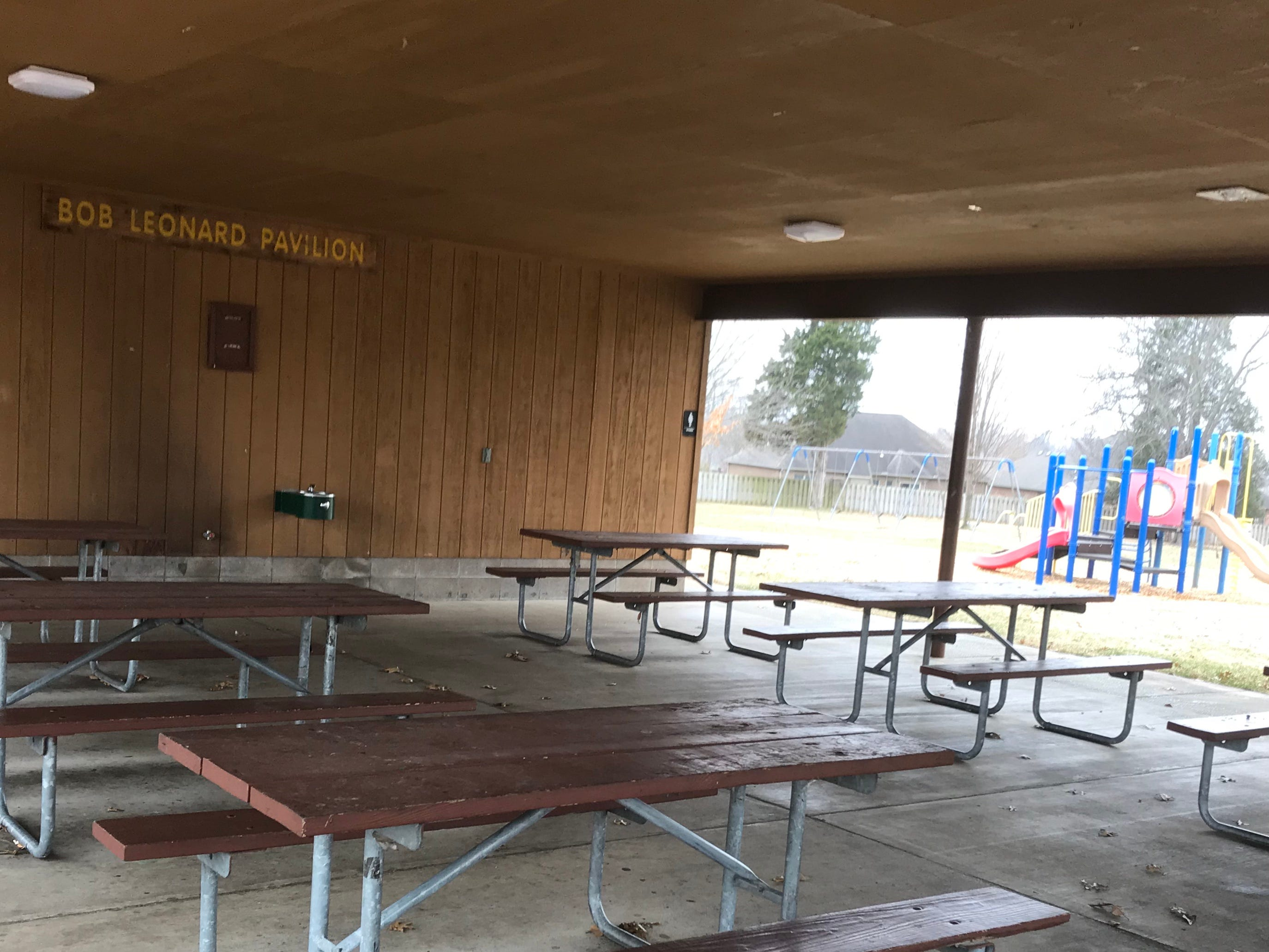 The Bob Leonard Pavilion has covered picnic tables on both sides of the building.  It is named after a volunteer who helped improve and renovate the park, which was rededicated in April 1997.
