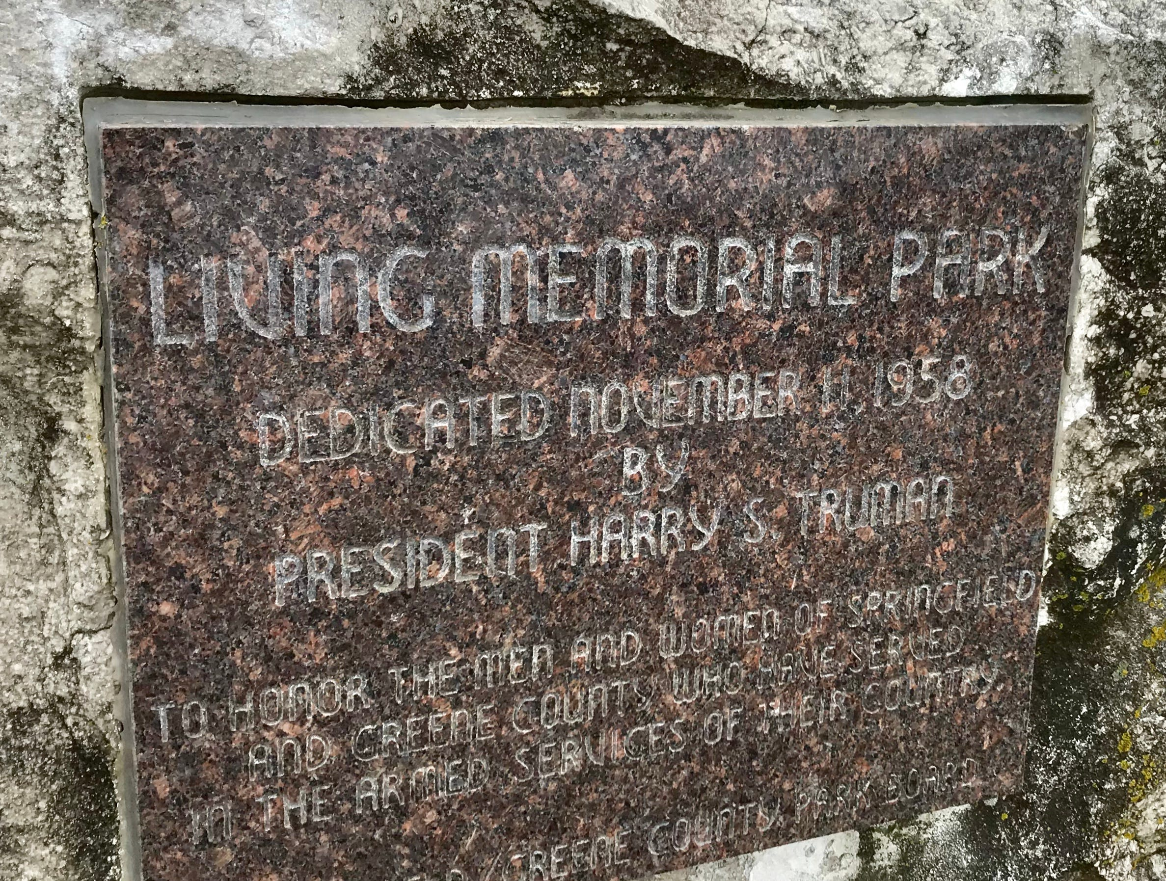 President Harry S. Truman dedicated Living Memorial Park on Nov. 11, 1958. Truman was an ex-president at the time; he left office in 1953.