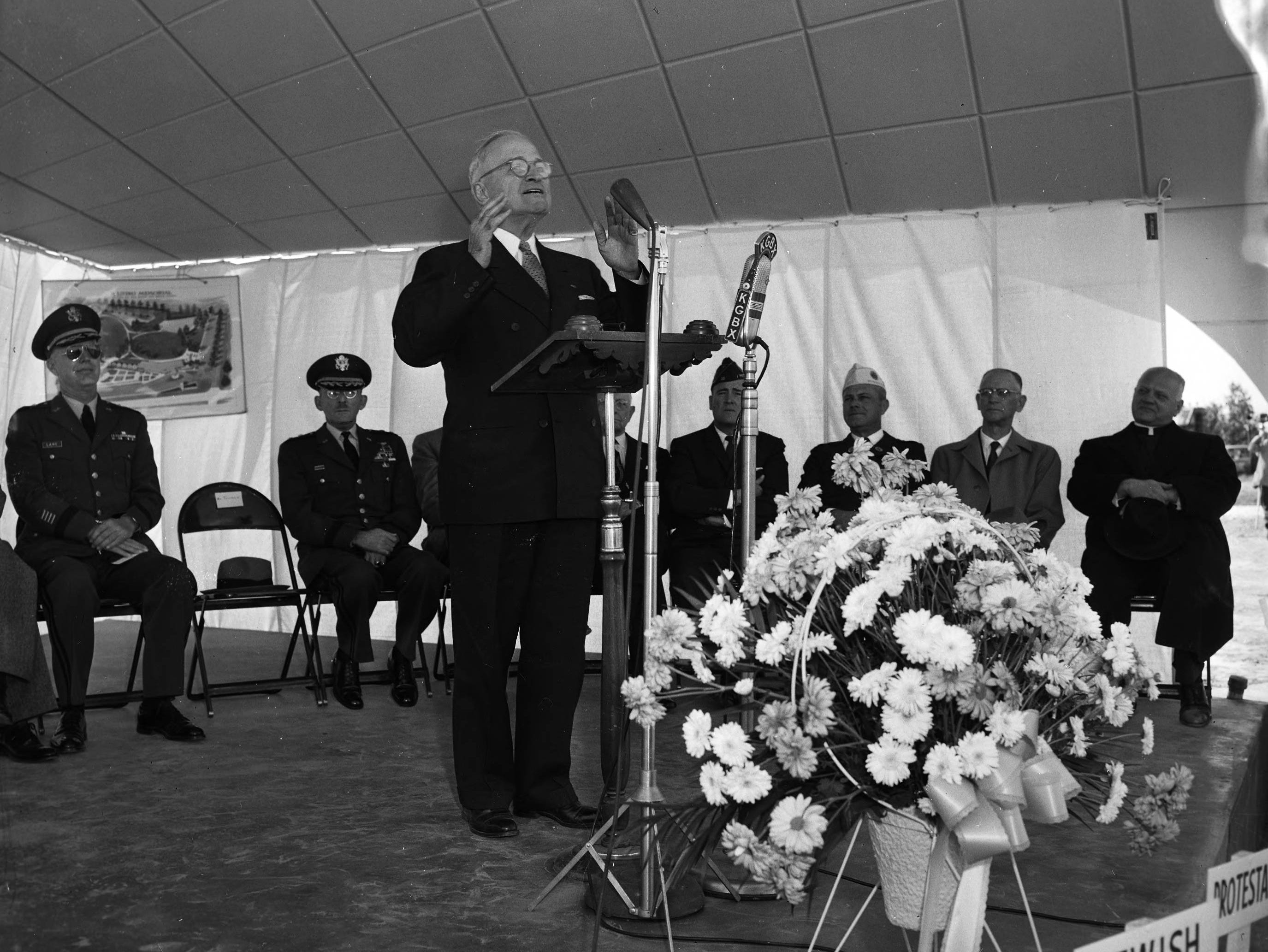 Former President Harry S. Truman spoke during ceremonies dedicating the Living Memorial on Highway 65. The memorial was a long-planned effort of the War Dads. Published in the Leader & Press on November 11, 1958.