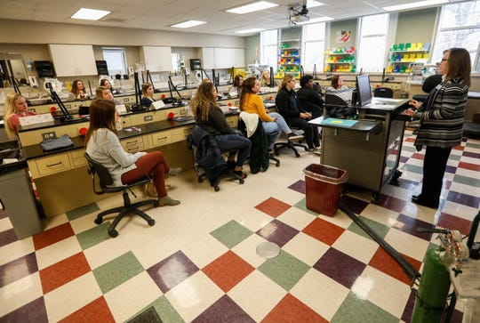 Former students from Vatterott College listen during orientation for the dental program at Ozarks Technical College.