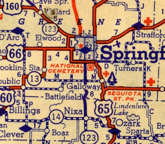 """When Living Memorial Park was created in 1958, it was along what was then one of the main north-south corridors.  Highway 65, back then, ran through Galloway and the park is located right where the """"ay"""" are in the word """"Galloway"""" on the map. The park, which originally was outside city limits, was eventually cut off from much of the city with the creation of the new Highway 65 and the James River Freeway."""