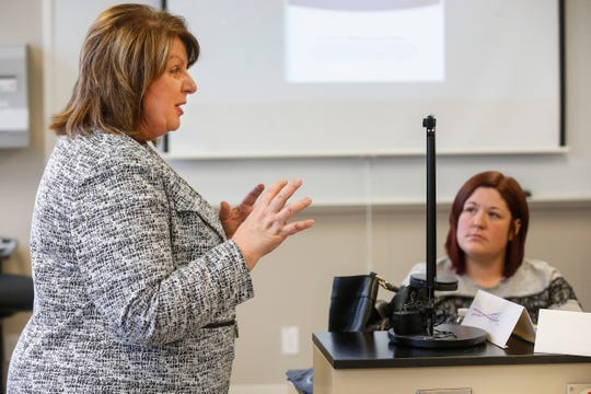 Janet Sell, program director for dental assisting, speaks to a class of former Vatterott students who are currently enrolled in the dental program at Ozarks Technical College.
