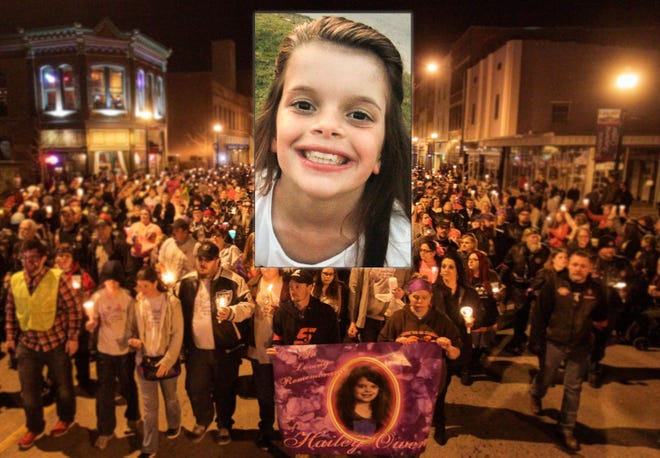 A photo illustration of Hailey Owens and candlelight march in her honor.