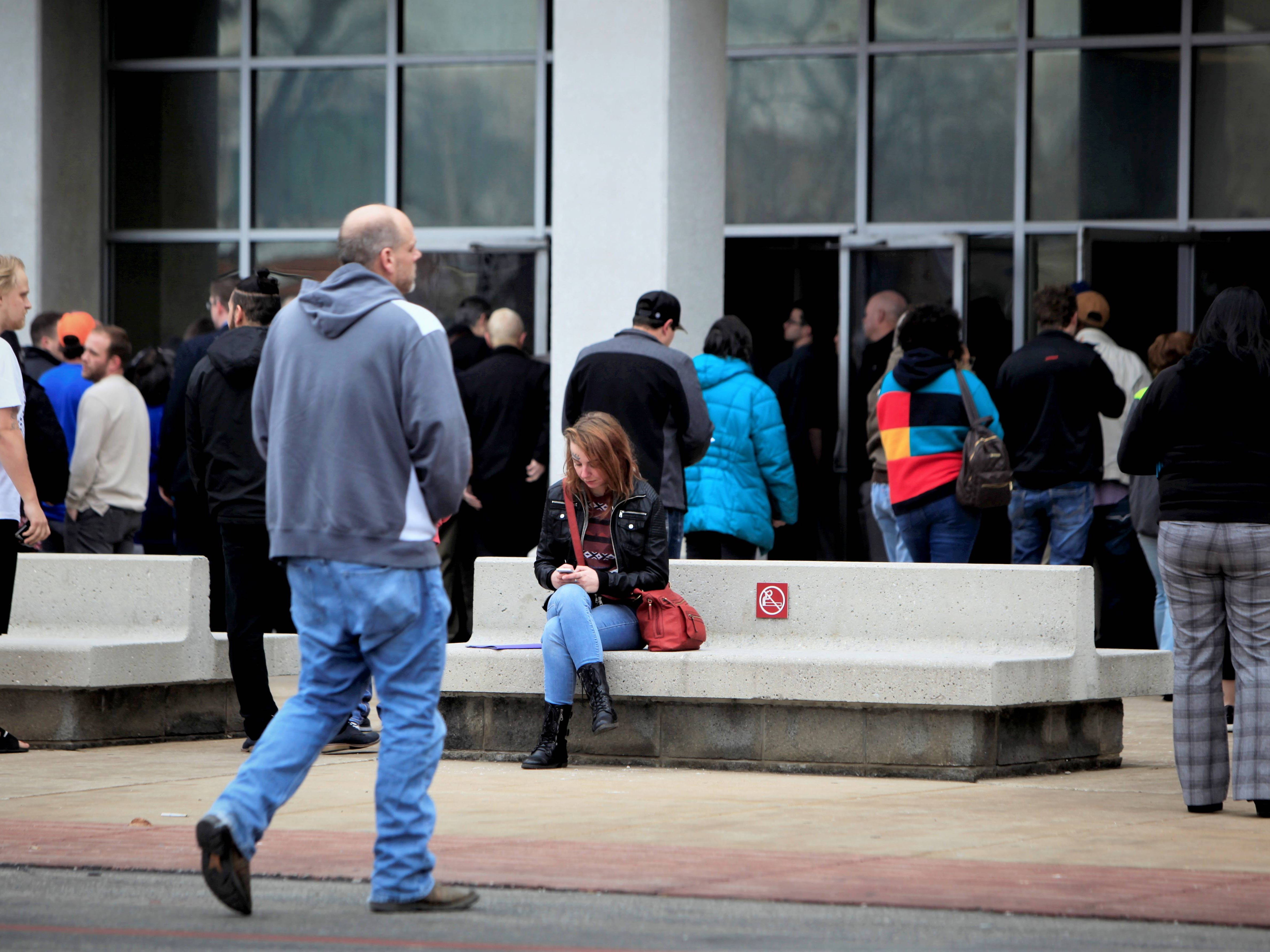 People re-enter the Greene County courthouse Tuesday morning.