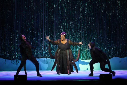 "Shtara Sirmans (center) performing as Ursula in GREAT Theatre's production of ""The Little Mermaid."" Sirmans passed away Sunday night."
