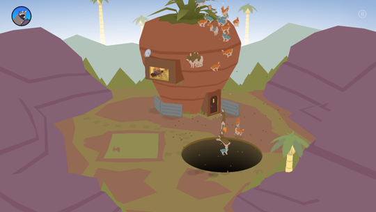 """A screen shot from """"Donut County,"""" an entertaining physics-based puzzler available for most mobile devices and consoles."""
