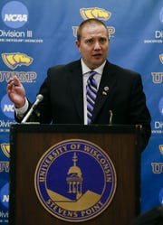 UWSP Director of Athletics Brad Duckworth addresses the media on Tuesday, February 5, 2019, at Champions Hall on the campus of UWSP in Stevens Point, Wis. The men's basketball program received four years of probation from the NCAA for violations committed over a five-year period.Tork Mason/USA TODAY NETWORK-Wisconsin