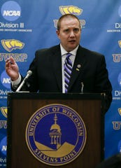 UWSP Director of Athletics Brad Duckworth addresses the media on Tuesday, February 5, 2019, at Champions Hall on the campus of UWSP in Stevens Point, Wis. The men's basketball program received four years of probation from the NCAA for violations committed over a five-year period.