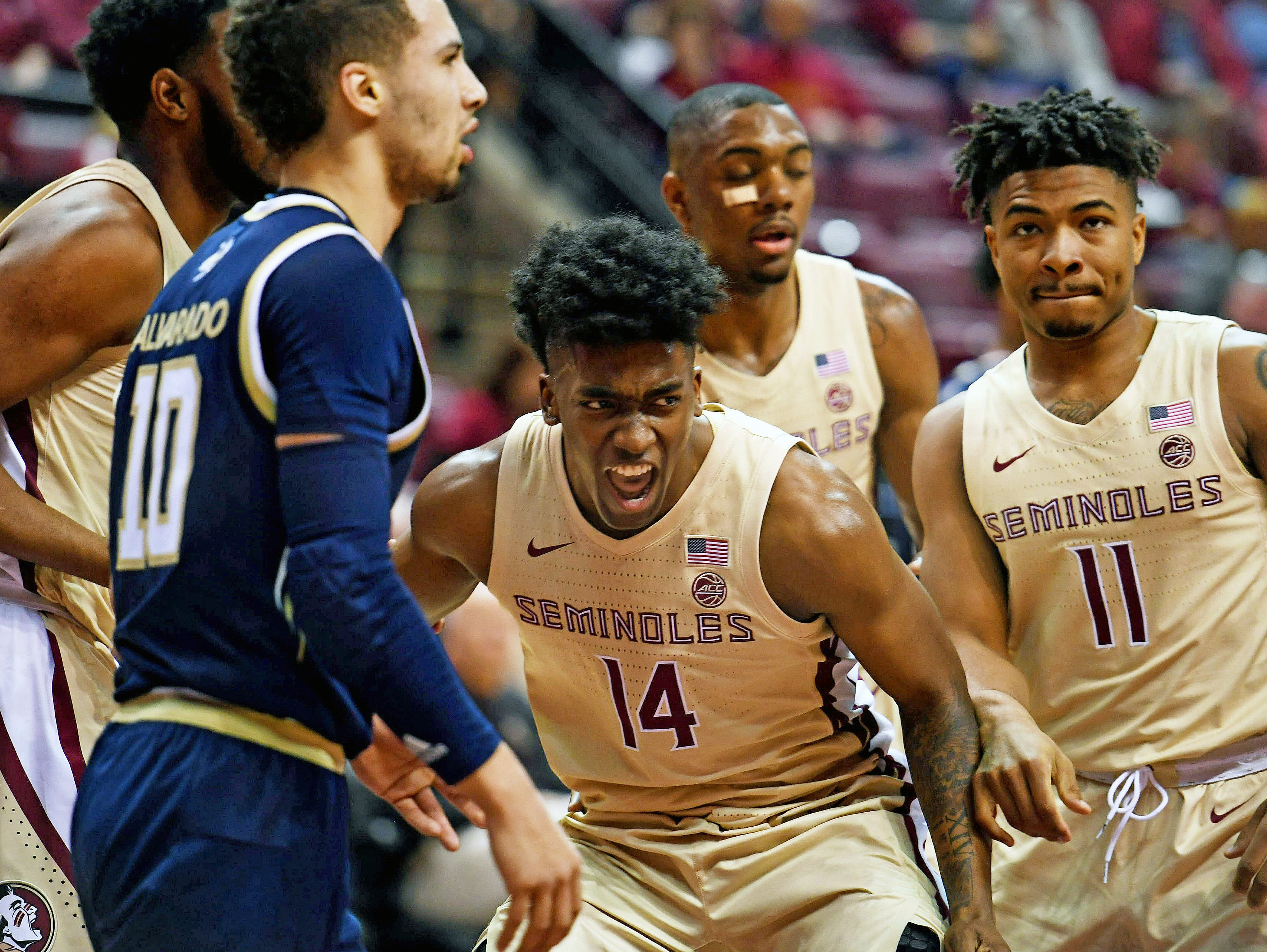 Feb 2, 2019; Tallahassee, FL, USA; Florida State Seminoles guard Terance Mann (14) reacts after a play during the first half against the Georgia Tech Yellow Jackets at Donald L. Tucker Center. Mandatory Credit: Melina Myers-USA TODAY Sports