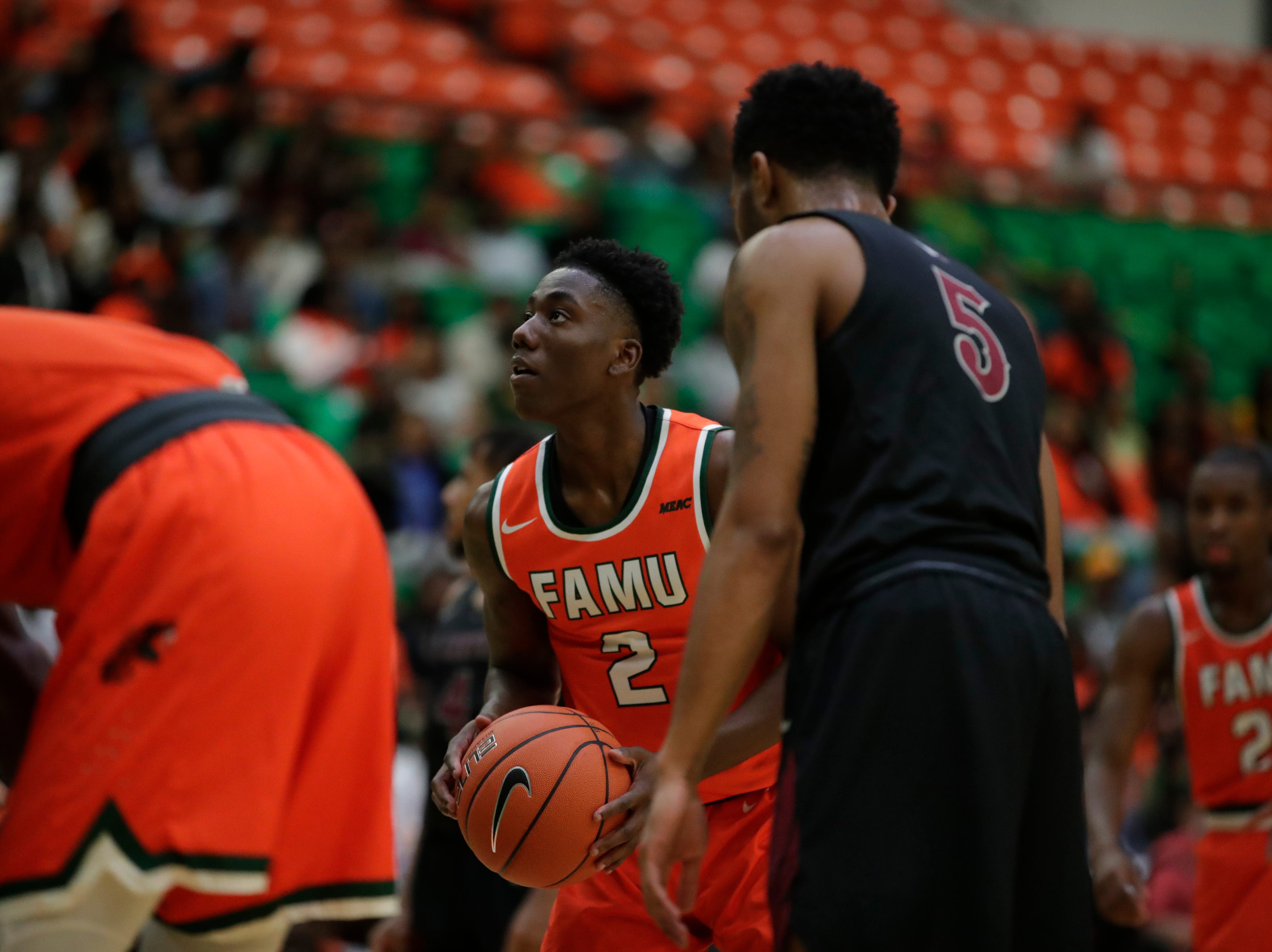 Florida A&M Rattlers guard Kamron Reaves (2) shoots a free throw during a game between FAMU and North Carolina Central at the Alfred Lawson Jr. Multipurpose Center Monday, Feb. 4, 2019.