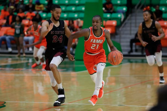 FAMU guard Justin Ravenel had 25 points in a win over North Carolina Central at the Alfred Lawson Jr. Multipurpose Center Monday, Feb. 4, 2019.