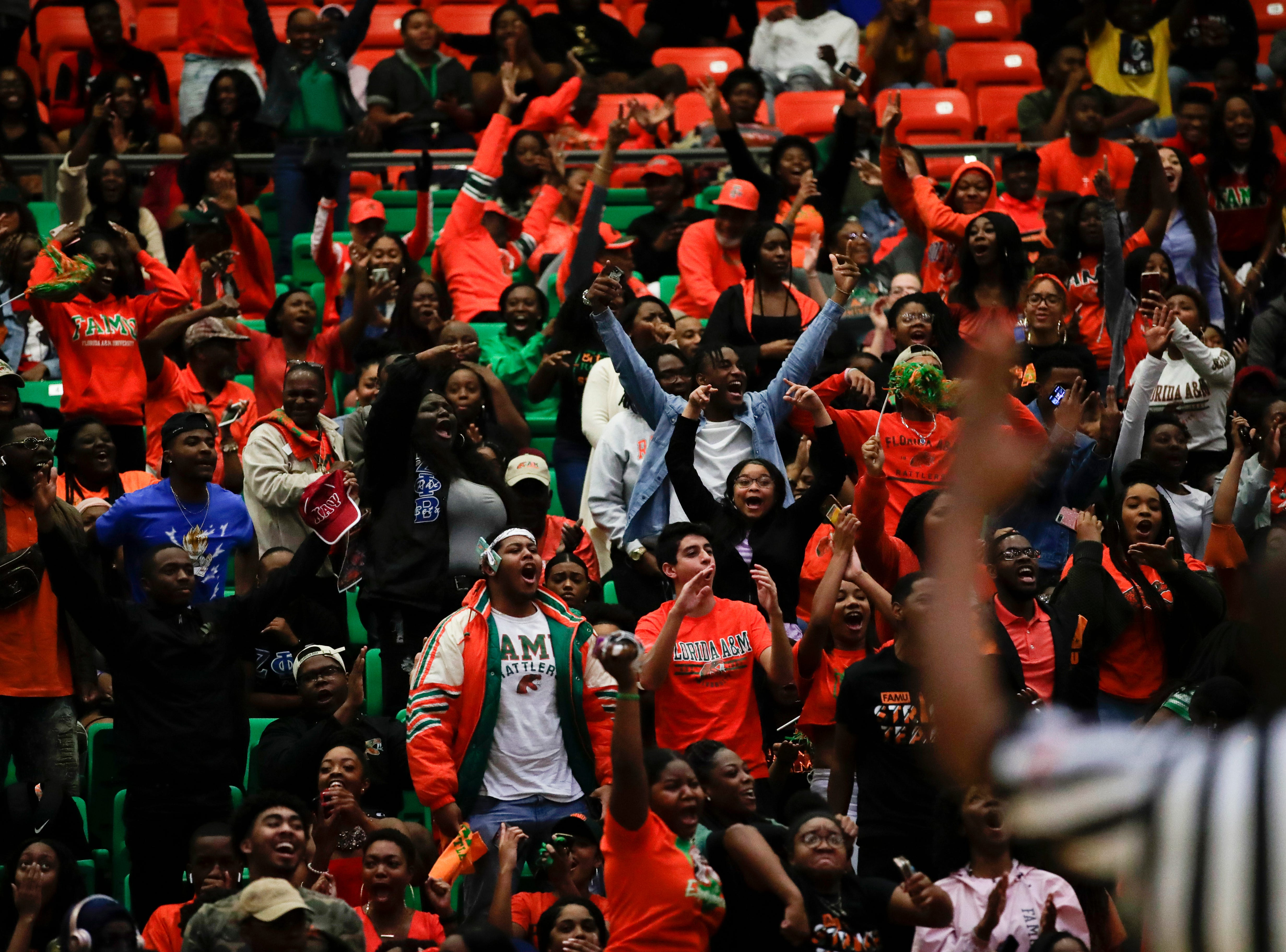 The Florida A&M student section cheers after Justin Ravenel makes a three point shot of the glass at the buzzer to end the second half during a game between FAMU and North Carolina Central at the Alfred Lawson Jr. Multipurpose Center Monday, Feb. 4, 2019.
