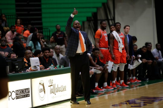 Florida A&M men's basketball head coach Robert McCullum instructs his team from the sideline versus North Carolina Central at the Alfred Lawson Jr. Multipurpose Center Monday, Feb. 4, 2019.