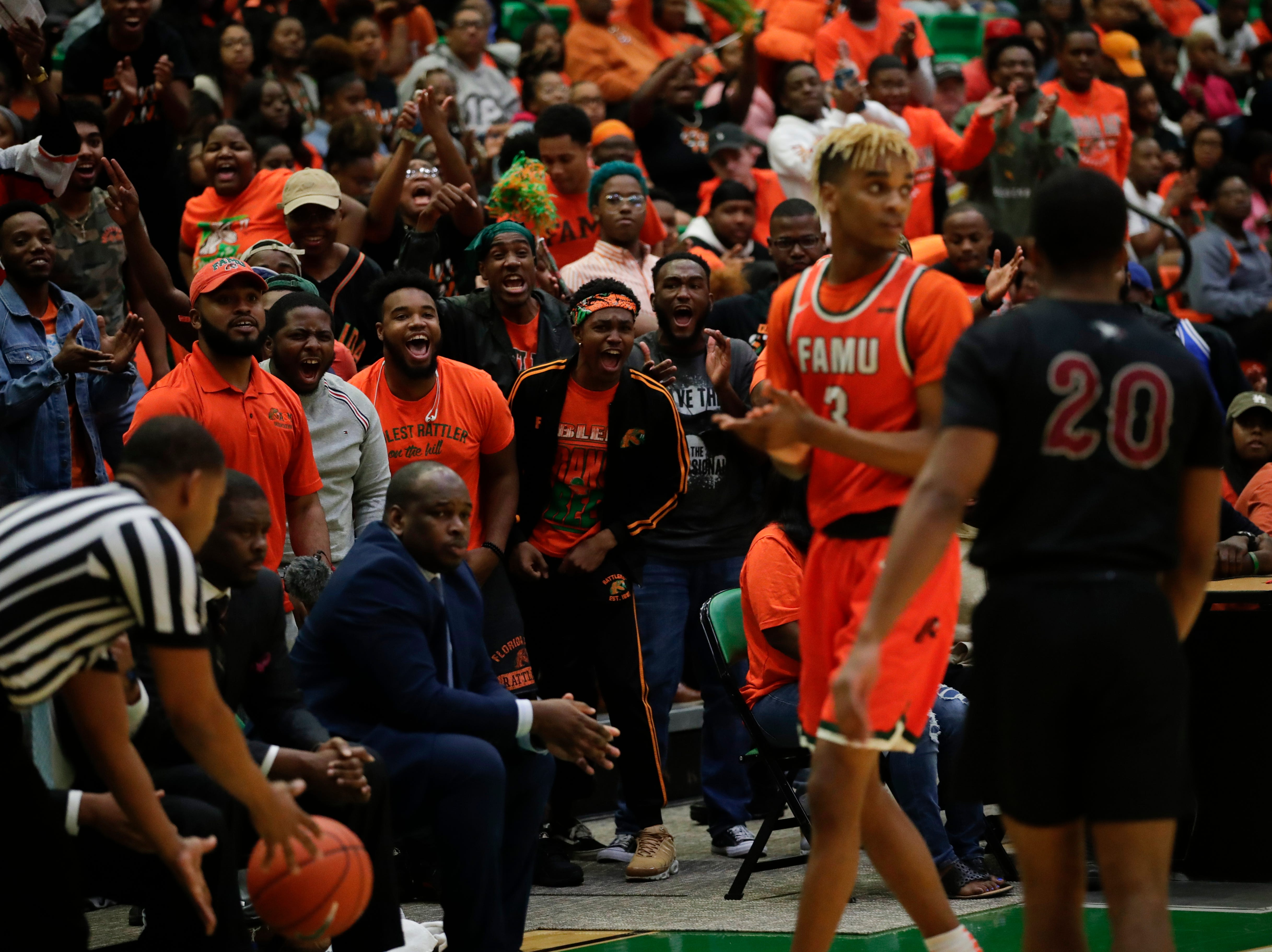 The Florida A&M student section taunts NCCU players at the Alfred Lawson Jr. Multipurpose Center Monday, Feb. 4, 2019.