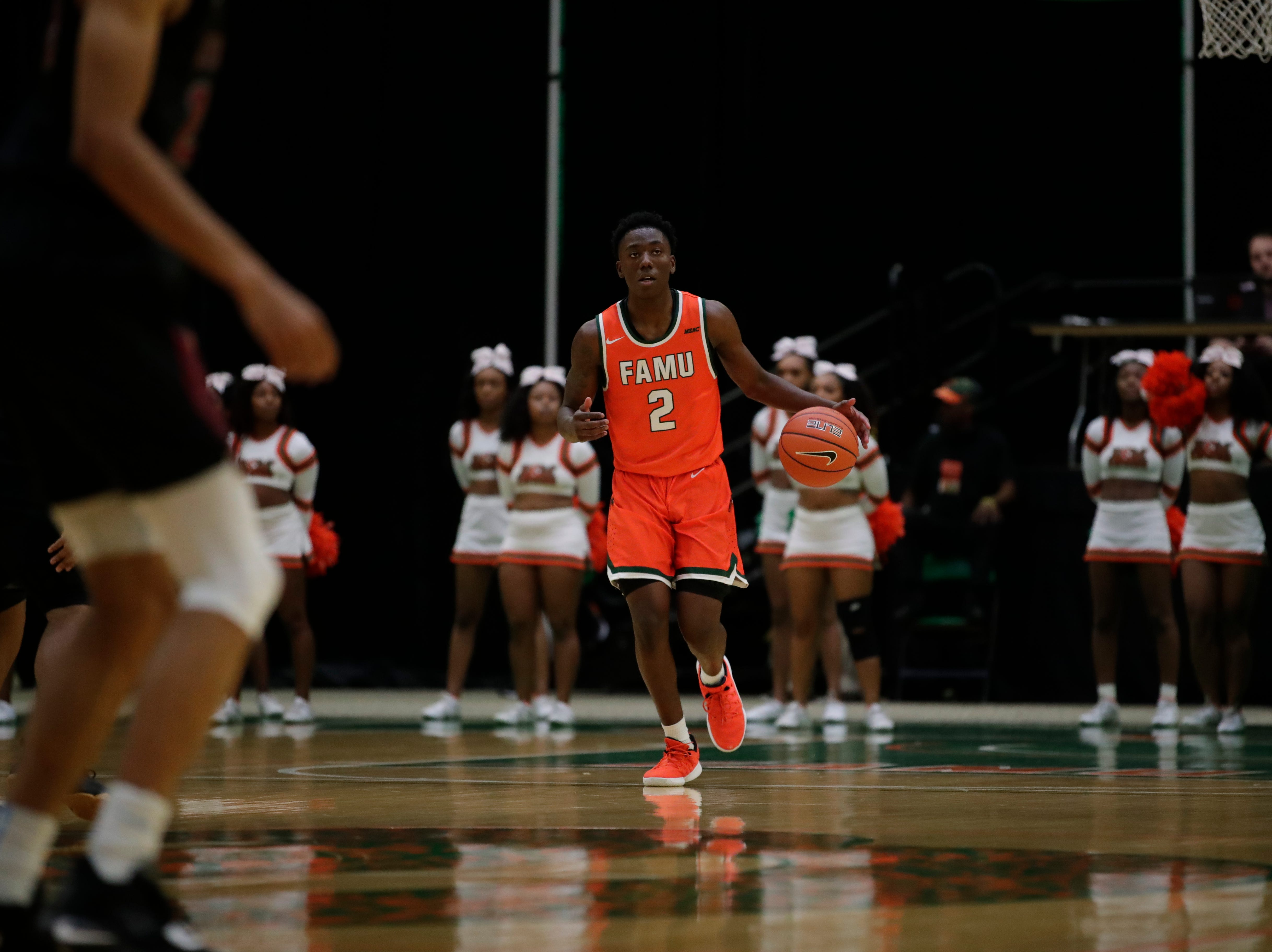 Florida A&M Rattlers guard Kamron Reaves (2) brings the ball up the court during a game between FAMU and North Carolina Central at the Alfred Lawson Jr. Multipurpose Center Monday, Feb. 4, 2019.
