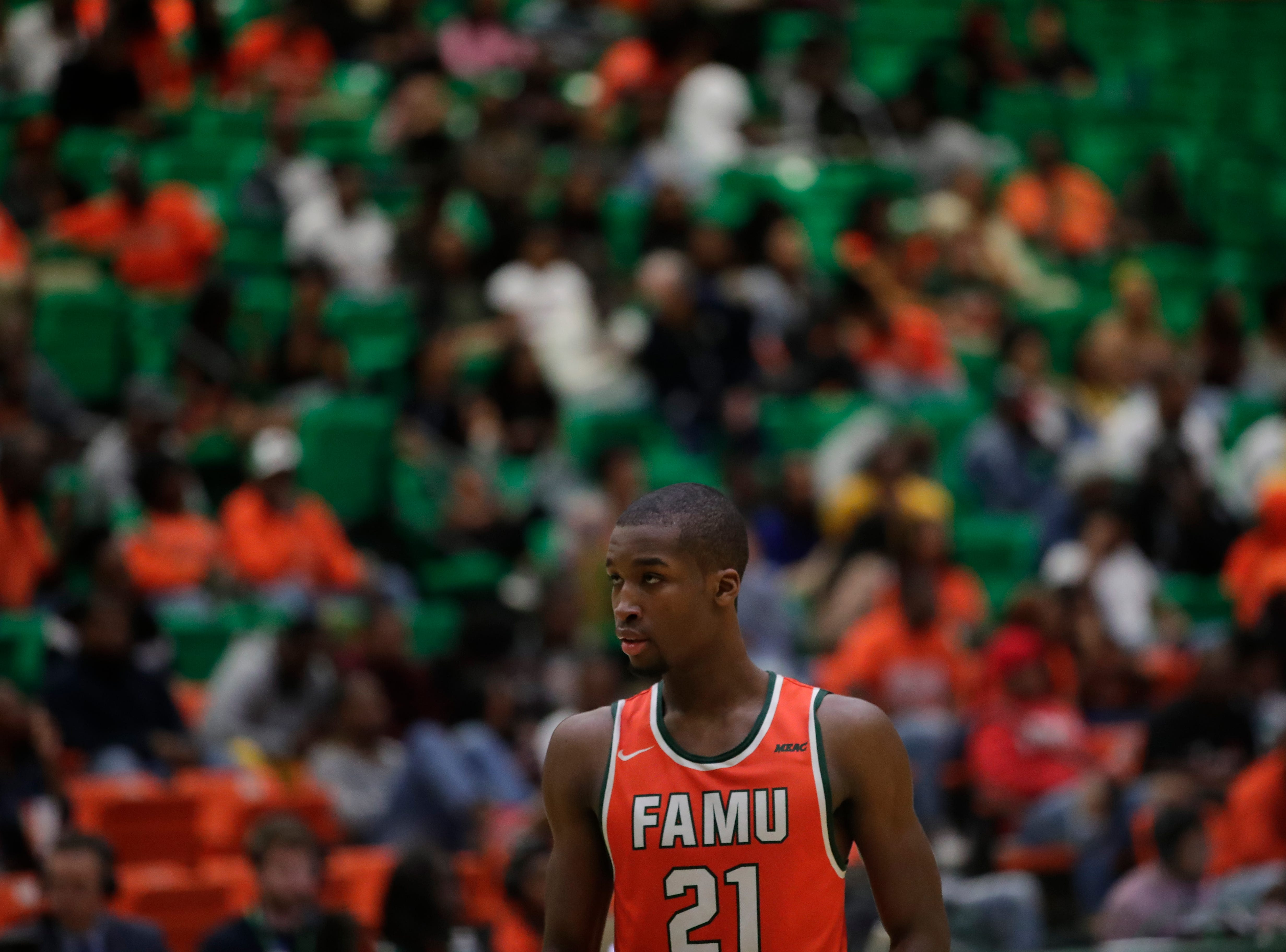 Florida A&M Rattlers guard Justin Ravenel (21) prepares to shoot two free throws after a technical foul was called on his opponents during a game between FAMU and North Carolina Central at the Alfred Lawson Jr. Multipurpose Center Monday, Feb. 4, 2019.