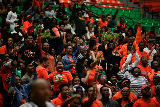 The student section cheers during a game between FAMU and North Carolina Central at the Alfred Lawson Jr. Multipurpose Center Monday, Feb. 4, 2019.