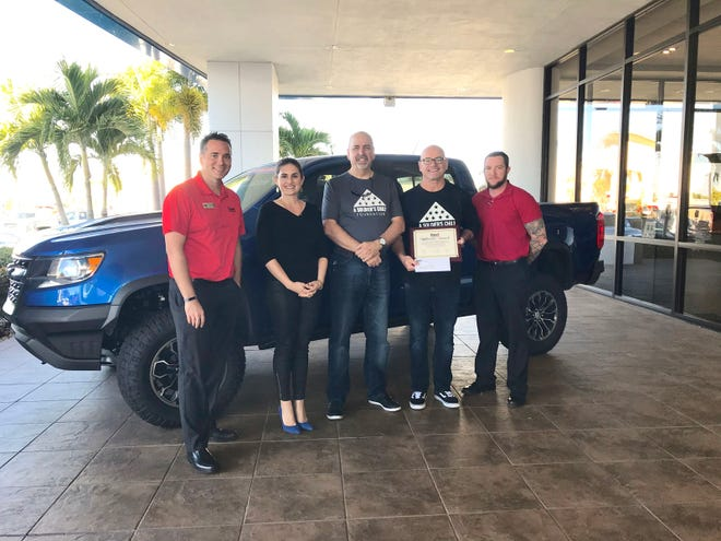 Indian River County January Dyer Difference Award: Jonathan Hardie, left, Dyer executive manager; Tatiana Dyer, owner; Alan Schacht, local coordinator for A Soldier's Child Foundation; Daryl Mackin, foundation founder, executive director; and Frank Felkey, Dyer Human Resources.
