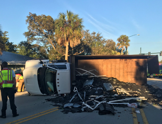 A truck overturned on Southeast Ocean Boulevard in Stuart on Tuesday evening, Feb. 5, 2019.